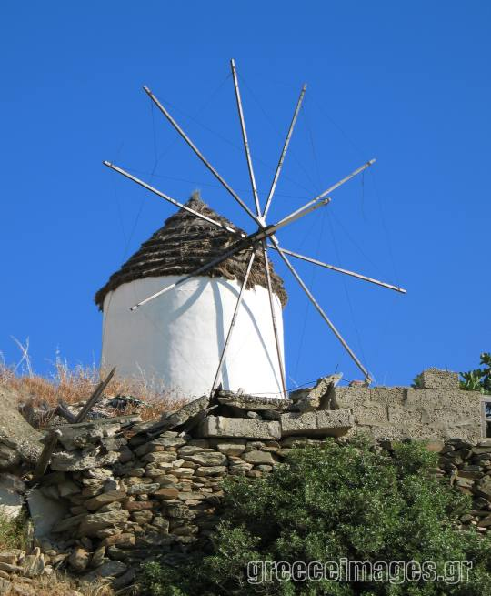 Picturesque windmill in Ios Village